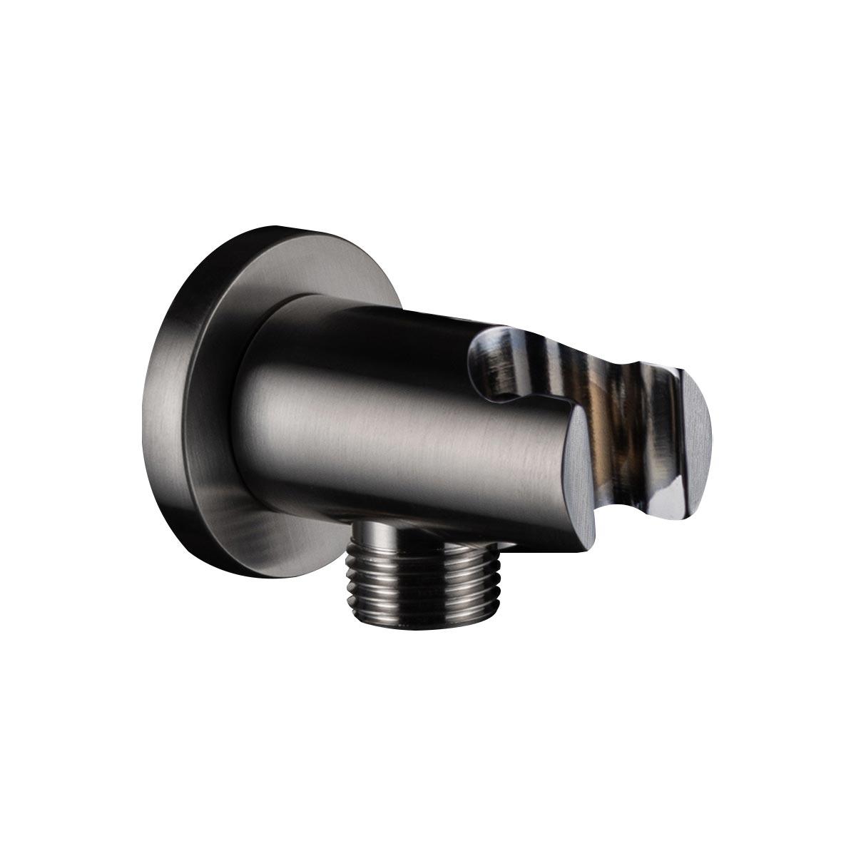 Presa acqua con supporto doccetta Tonda Frontale Nickel spazzolato