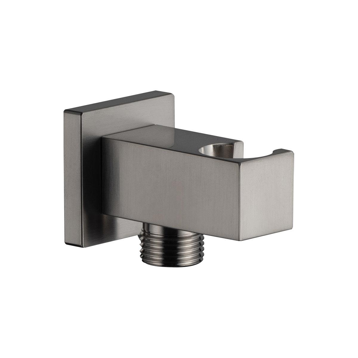 Presa acqua con supporto doccetta Quadra Laterale Nickel spazzolato