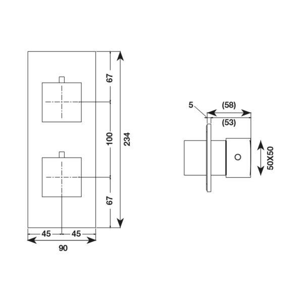 Rubinetto Quadro termostatico verticale